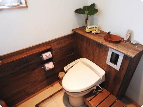 床が木できたトイレ